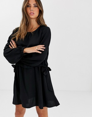 ASOS DESIGN ruched waist chuck on mini dress with long sleeves