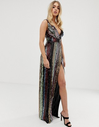 Club L London striped sequin maxi dress with side split-Multi