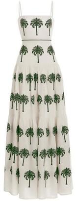 Agua Bendita Lima Embroidered Linen Maxi Dress