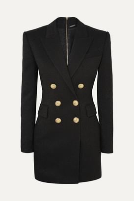 Balmain Button-embellished Metallic Wool-blend Mini Dress - Black