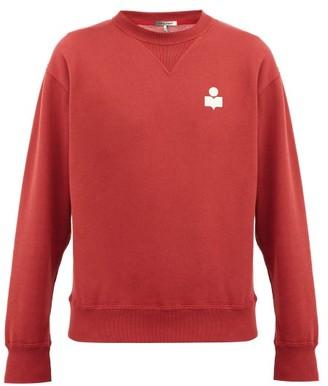 Isabel Marant Mike Flocked-logo Cotton-blend Sweatshirt - Burgundy