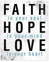Faith Hope Love Blue 8-Inch x 10-Inch Canvas Wall Art