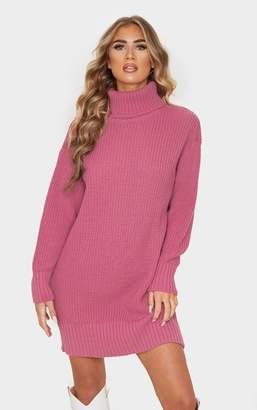 PrettyLittleThing Rose Oversized High Neck Knitted Jumper Dress