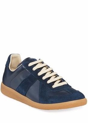 Maison Margiela Men's Replica Leather/Suede Low-Top Sneakers