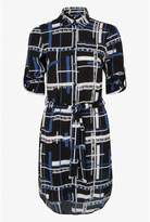 Select Fashion Fashion Womens Blue Multi Grid Shirt Dress - size 6