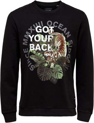 ONLY & SONS Graphic Long-Sleeve Cotton Sweatshirt