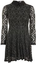 Oh My Love **Silver Metallic Lace Skater Dress