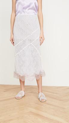 ANAÏS JOURDEN Lace Midi Skirt with Metallic Lace Hem