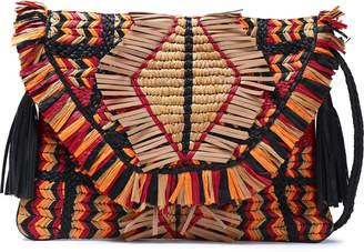 Antik Batik Tasseled Raffia And Leather Shoulder Bag