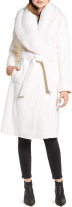 Rachel Parcell Faux Fur Collar Wool Blend Coat