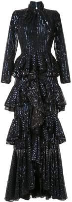 Ingie Paris ruffle long-sleeve maxi dress