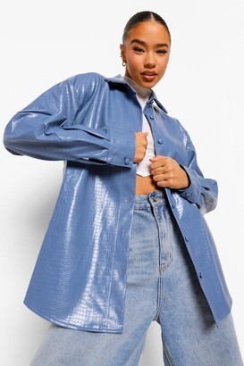 boohoo Croc Faux Leather Shacket