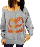 Changeshopping Women Halloween Pumpkin Print Long Sleeve Sweat Pullover Tops Shirt (M, )