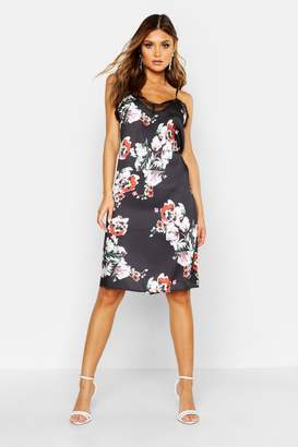 boohoo Floral Print Lace Trim Slip Dress