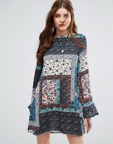 Missguided Patchwork Paisley Print Swing Dress