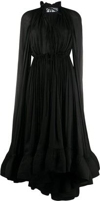 Lanvin Long Long-Sleeved Ruffle Gown