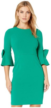 Donna Morgan 3/4 Bell Sleeve Crepe Shift Dress w/ Bow Detail at Wrist (Evergreen) Women's Dress