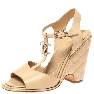 Chanel Beige Leather CC T-Strap Quilted Block Heel Sandals Size 40