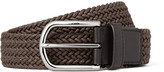 Tod's - 3.5cm Brown Leather-trimmed Woven Cord Belt