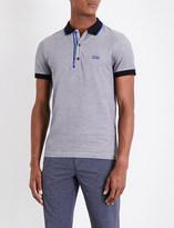 BOSS GREEN Two-tone cotton-piqué polo shirt