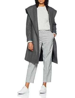 Only Women's Onlriley Wool Hooded Wrap Coat Cc OTW Coat, Grey (Dark Melange Dark Melange), 10 (Manufacturer Size: Small)