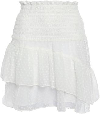Ganni Ruffled Flocked Georgette Mini Skirt