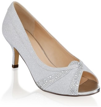 Linzi Paradox London Gigi Silver Extra Wide Fit Mid Heel Peep Toe Shoes