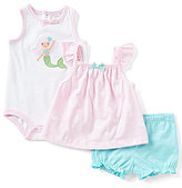 Starting Out Baby Girls Newborn-9 Months Mermaid Top, Printed Bodysuit, & Solid Shorts 3-Piece Set