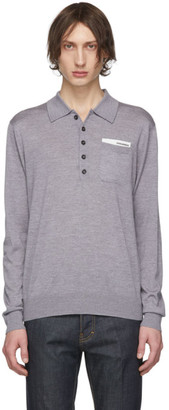 DSQUARED2 Grey Pocket Long Sleeve Polo