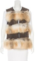Thomas Wylde Fur-Trimmed Leather Vest