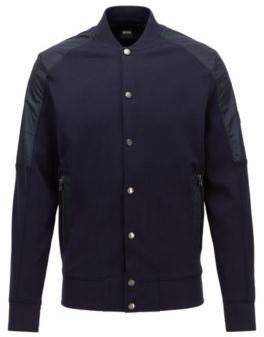 HUGO BOSS Cotton Blend Bomber Jacket With College Collar - Dark Blue