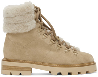 Jimmy Choo Beige Shearling Eshe Hiking Boots