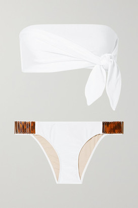 Adriana Degreas Embellished Knotted Bandeau Bikini - White