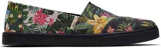 Toms Black Multi Floral Canvas Women's Classics