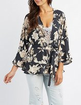 Charlotte Russe Floral Ruffle-Trim Belted Kimono