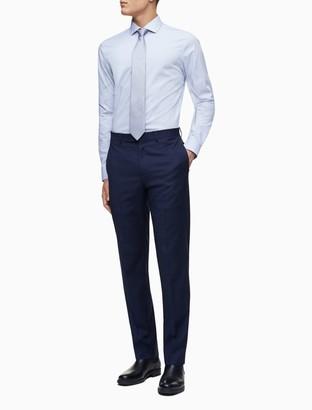 Calvin Klein Slim Fit Blue Mini Check Performance Non-Iron Dress Shirt