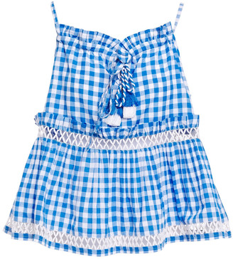 Dodo Bar Or Ruffle-trimmed Tasseled Checked Cotton-gauze Top