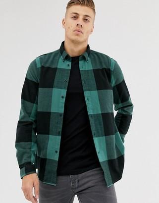 Barbour International large gingham shirt in black/teal-Green