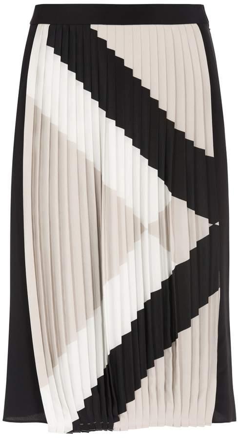 Tibi Maritime Border Stripe Pleat Skirt
