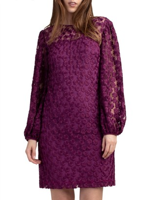Trina Turk Airie Embroidered Long-Sleeve Dress