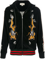 Gucci dragon embroidery hooded jacket