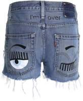 Chiara Ferragni Levi's Flirting Eye Distressed-denim Shorts