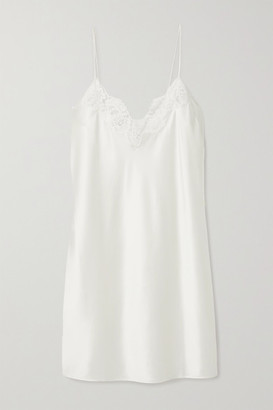 CAMI NYC The Illy Lace-trimmed Silk-blend Charmeuse Chemise - Ivory