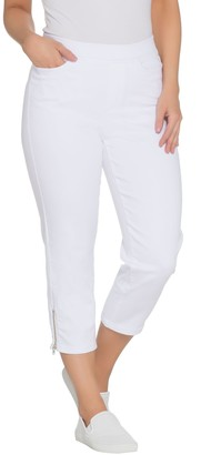 Denim & Co. Regular Soft Stretch Pull-On White Crop Jeans