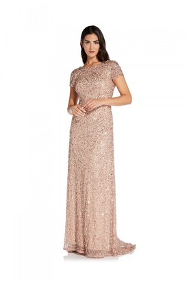 Adrianna Papell Scoop Back Long Dress In Rose Gold