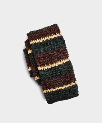 Drakes Knit Silk Stripe Tie in Olive
