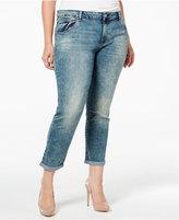 Jessica Simpson Trendy Plus Size Distressed Navy Blue Wash Boyfriend Jeans