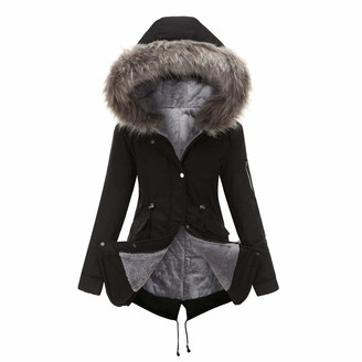 VICENT Women's Coat Faux Fur Collar Warm Winter Long Sleeve Parka Jackets Hooded Fleece Lined Mid Long Overcoat Thick Outerwaer with Zip Side Pockets UK Size S-4XL Black
