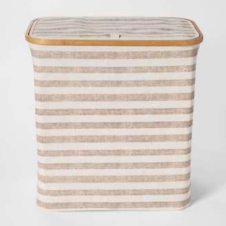Threshold Soft Sided Laundry Hamper With Bamboo Rim Lid -Striped Beige - ThresholdTM