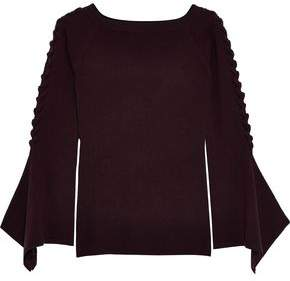 Autumn Cashmere Lace-up Ribbed Merino Wool-blend Sweater